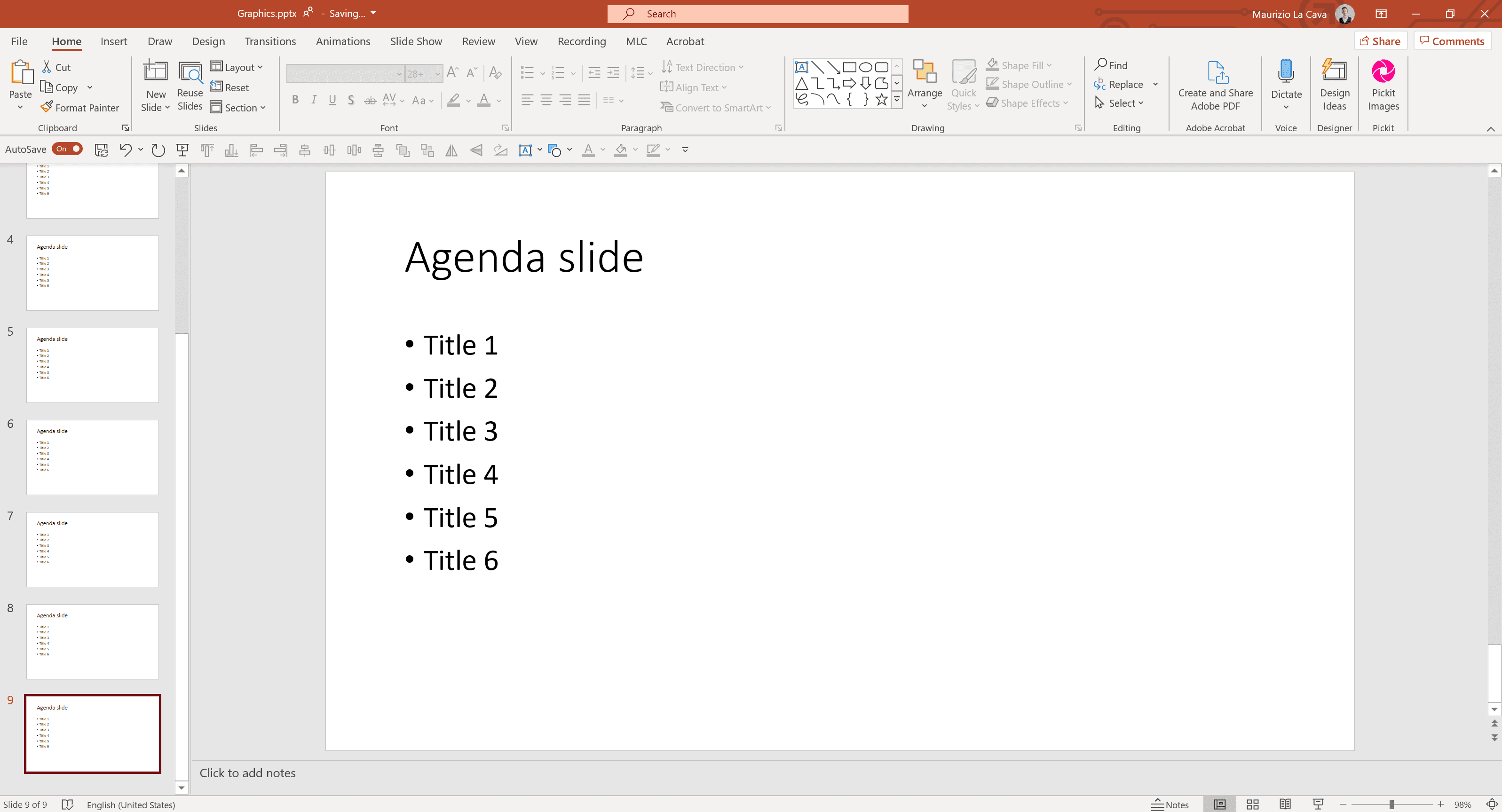 Table of Contents in PowerPoint | Maurizio la Cava